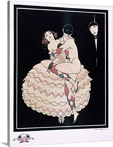 Commedia Dellarte Lovers Costumes (George Barbier Premium Thick-Wrap Canvas Wall Art Print entitled Karsavina, 1914)