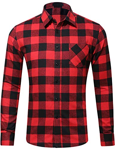DOKKIA Men's Casual Dress Long Sleeve Buffalo Plaid Gingham Flannel Shirts (Small, Black Red Buffalo)