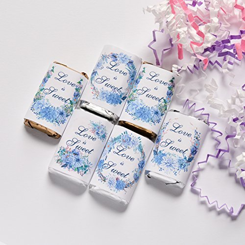 54 Blue Wedding Floral Candy Wrappers, Blue Party Favor Candy Stickers, Blue Peony Labels