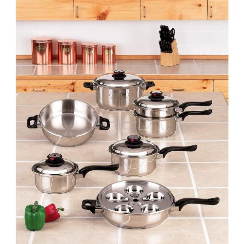 Worlds Finest™ 7-Ply Steam Control™ 17pc T304 Stainless Steel Cookware Set