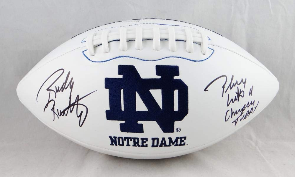 Rudy Ruettiger Autographed Notre Dame Logo Football w/Play Like A Champ JSA W Auth