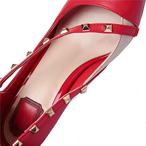 Aguja de Remache Cuero Puntiagudos Moda con Tacones Rojo para Nine Mujer Seven qYX8w1