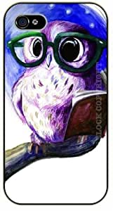 Case For Iphone 5/5S Cover Hipster owl reading a book - black plastic case / Animals and Nature, owl, owls