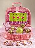 tin tea sets with basket - Delton Products Tulips Tin Tea Set in Basket, 4