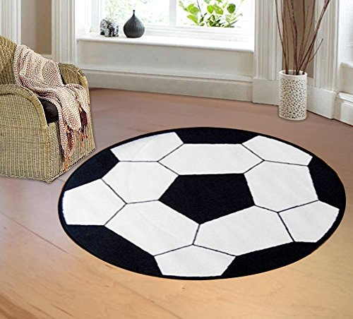 "furnishmyplace soccer round kids rug size 3'3"" round"
