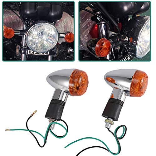 INNOGLOW Motorcycle Turn Signal Lights Chrome Bullet Front Rear Blinker Indicator Light for Harley Honda Kawasaki Suzuki Yamaha Motorcycle Street Standard Custom Bike Cruiser Bobber Chopper (2 PCS) (Harley Custom Bikes)