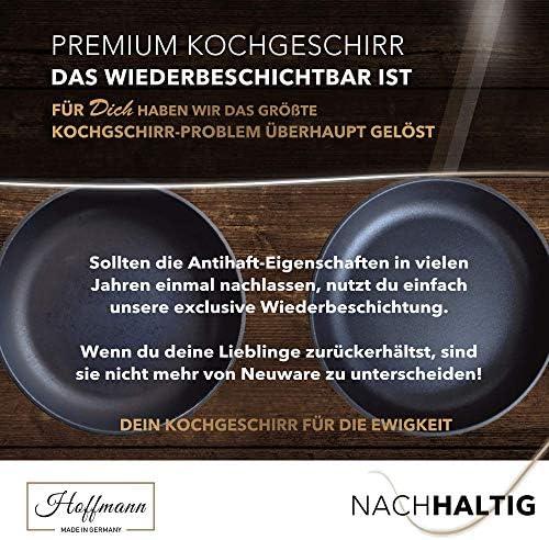 Aluguss Pfanne 20cm Induktion I Antihaft Hoher Rand 7 cm I Induktions Pfannen Made in Germany inkl. Glasdeckel I Wiederbeschichtung
