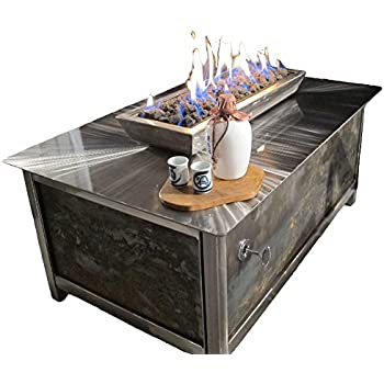Great Impact Fire Table, Stainless Steel, Rectangular, Raw Steel Side Panels,  Propane Gas