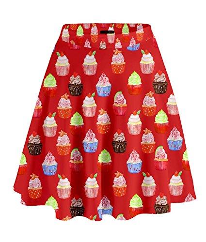Cowcow- Falda de cintura alta, diseño de pasteles Rosso