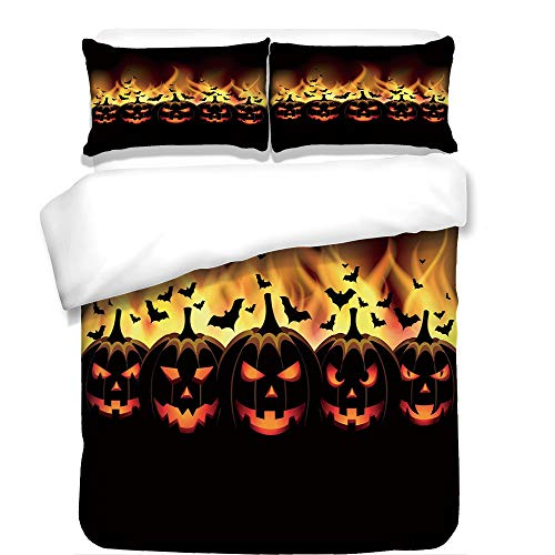 iPrint 3Pcs Duvet Cover Set,Vintage Halloween,Happy Halloween Image with Jack o Lanterns on Fire with Bats Holiday Decorative,Black Scarlet,Best Bedding Gifts for Family/Friends