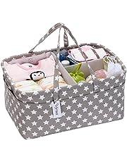 Hinwo Babyblöja Caddy 3-fack Spädbarnsbarnväska Tygförvaringslåda Bärbar arrangör Nyfödd dusch Presentkorg med avtagbar avdelare 10 osynliga fickor för blöjor