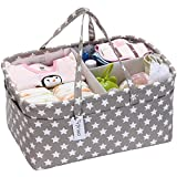 Hinwo Baby Diaper Caddy 3-Compartment Infant Nursery Tote Storage Bin Portable Car Organizer Newborn Shower Gift Basket with Detachable Divider and 10 Invisible Pockets for Diapers & Wipes, Grey Star