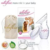 Manual Hand Breast Pump by Natuflow | Baby Milk Breastfeeding Silicone Breastpump with Stand, Cap and Luxury Bag | Collect Natural Breastmilk | Ideal Baby Shower Gift | UK TESTED 100% BPA Free | 12 Month Guarantee