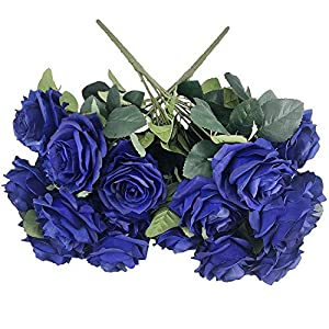 DALAMODA Royal Blue Roses 2 Bundles (with Total 20 Heads) Artificial Silk Flower Rose Bouquet (Royal Blue)