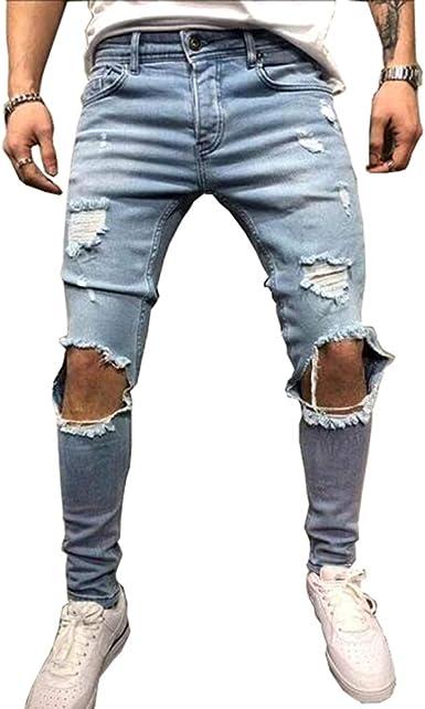 Xwglory Moda Streetwear Jeans Para Hombres Flacos Destruidos Jeans Rasgados Pantalones Punk Rotos Pantalones De Mezclilla Hip Hop Amazon Es Ropa Y Accesorios