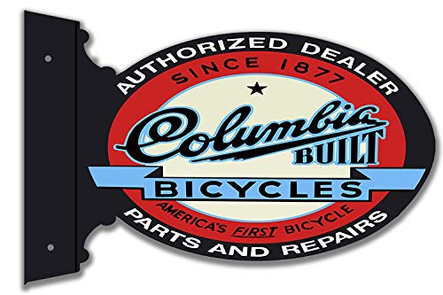 Garage Art Signs Columbia Bicycles Cut Out Flange Metal Sign 12x22 Oval