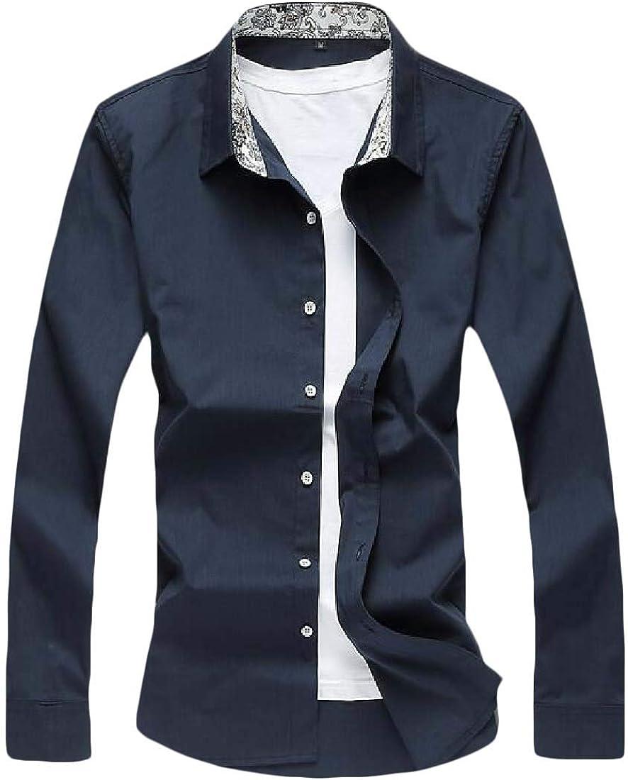 UUYUK Men Slim Button Down Fall Winter Plus Size Solid Shirt Dress Work Shirt