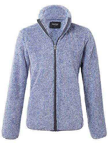 Fleece Jersey Jacket (JayJay Women Athlete Ultra Soft Fur Fleece Long Sleeve Jersey Jacket,Brightblue,XL)