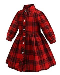 ZANDZ Little Girls Cotton Sleeveless Button Pocket Plaid Casual Summer Dress(A-Red,2T-3T)