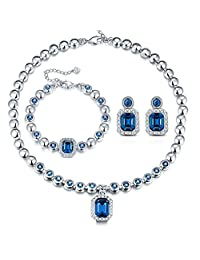 T400 Navy Blue Crystal Pendant Necklace, Stud Earrings and Tennis Bracelet Jewelry Set Gift for Women