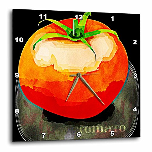 3dRose dpp_56225_2 Vintage Red Tomato Fruit Art Wall Clock, 13 by 13-Inch