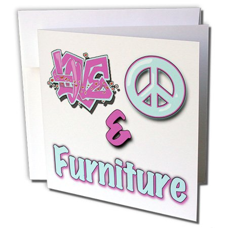 3dRose Blonde Designs Love Peace And In Pastel Blue and Purple - Love Peace And Furniture Pastel Blue and Purple - 6 Greeting Cards with envelopes (gc_122384_1) -