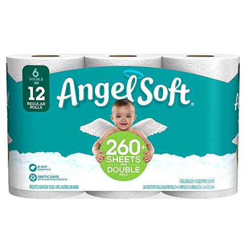 Angel Soft Toilet Paper, 6 Double Rolls, 6 = 12 Regular Bath Tissue Rolls (Packaging May Vary)