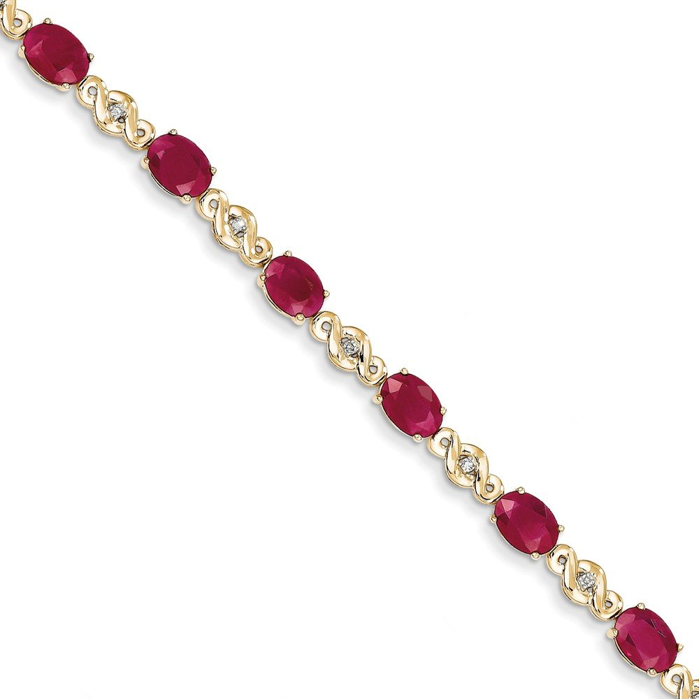 14k Yellow Gold Diamond and Ruby Bracelet (Color I-J, Clarity I1-I2) by Jewelry Pot