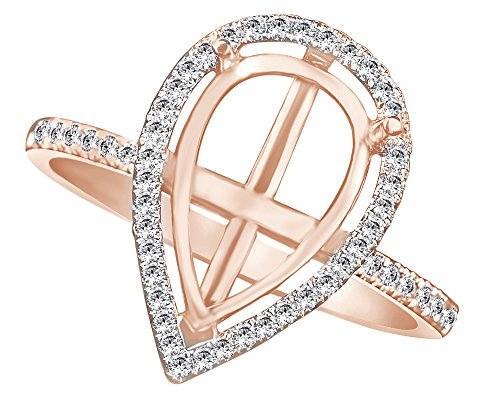 (AFFY 12X8mm Round Cut Natural Diamond Semi Mount Engagement Ring in 14K Solid Rose Gold (0.25 Ct))