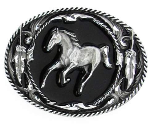 Diamond Cut Belt Buckles Horses - Pewter Belt Buckle - Running Horse (Diamond Cut)