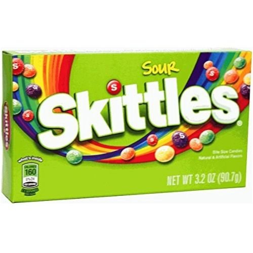 Skittles Sour Candy, 3.2 Ounce - 12 per case.