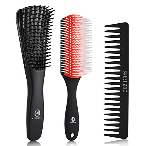 O BRUSHZOO Detangling Brush for Curly Hair, Detangler Brush for Black Natural Hair, Detangle Brush for 3/4abc Hair, Easier and Faster Detangling on Cury,Coily, Wavy