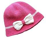 POM KIDS Handmade Crochet Flapper Hat: Pink with Bow