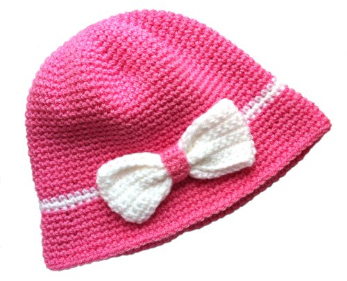 POM KIDS Handmade Crochet Flapper Hat: Pink with Bow by MOP