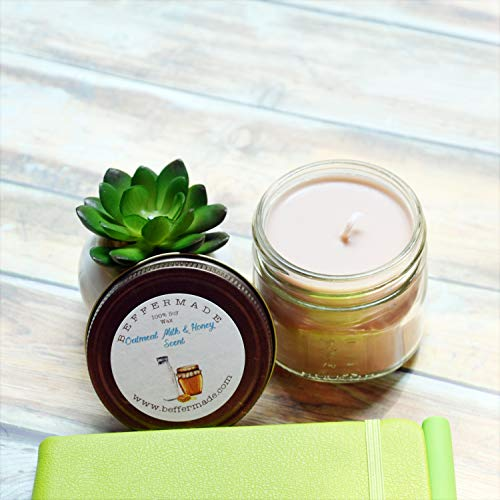 Oatmeal Milk and Honey Candle, Scented Soy Jar Candle, 4 ()