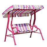 Angel Living 5861010 Children 2 Seater Garden Outdoor Swing Chair Color stripes Hammock with Sunshade Canopy (Red)