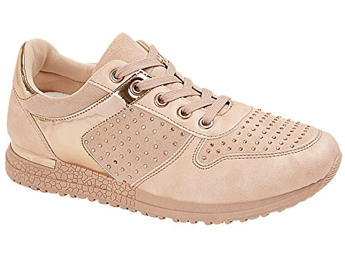 Ladies Diamante Glitter Mesh Lace Up Lightweight Fashion Trainers Size 3-8 Pink OWuevkPd5f