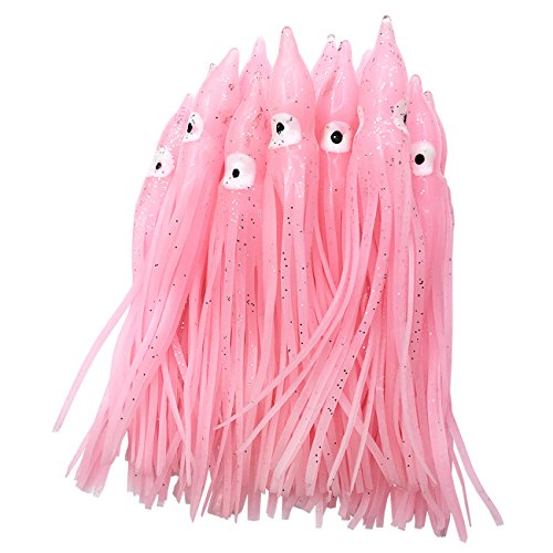 wild.life Luminous Hoochie Octopus Skirts Trolling Lures Soft Plastic Lures Fishing Squid Skirts Saltwater/Bait Lures Color Length Optional (Pink/Luminous, 2.3in/22pack)