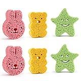 OUNONA 6PCS Baby Soft Bath Sponge Loofah Kids Cartoon Bathing Rubbing Pads