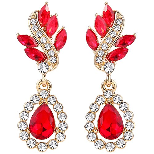 EleQueen Women's Austrian Crystal Art Deco Tear Drop Dangle Earrings Clip-on Gold-tone Ruby Color ()