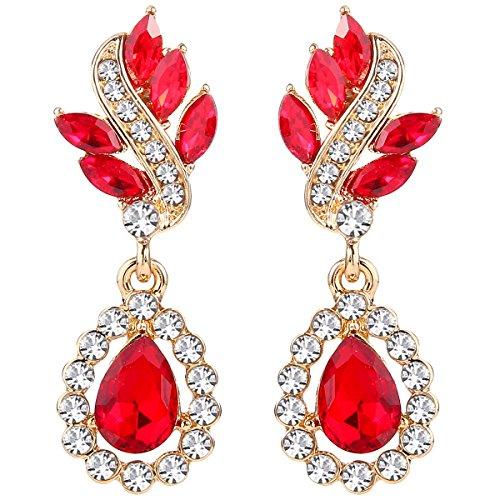 EleQueen Women's Austrian Crystal Art Deco Tear Drop Dangle Earrings Clip-on Gold-tone Ruby -