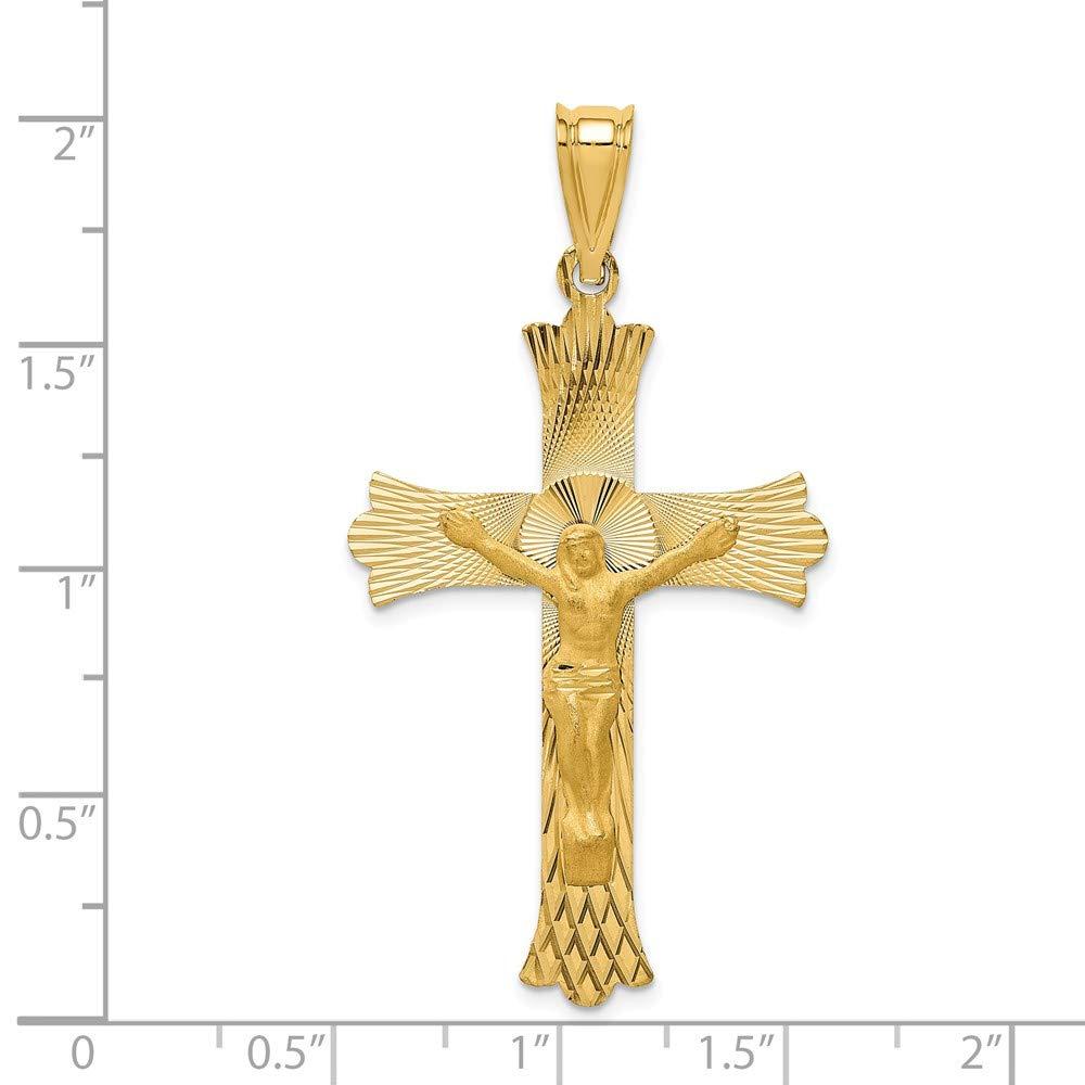 Mia Diamonds 14k Yellow Gold Polished Satin and Diamond-Cut Crucifix Pendant 49.5mm x 27mm