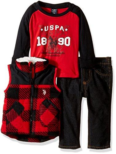 U.S. Polo Assn. Baby Boys Polar Fleece and Taslon Vest, Long Sleeve T-Shirt and Denim Jean