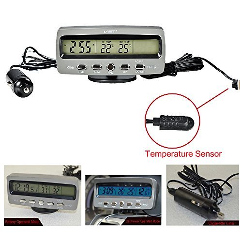 LCD Display Shopready Car Temperature Gauge 3 in 1 Digital Car Thermometer Car Clock with Voltmeter Monitor Blue and Orange Backlight DC 12V Freeze Alert