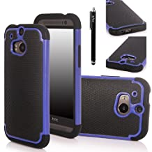 E LV Hybrid Dual Layer Slim Armor Defender Protective Case Cover (Hard Plastic with Soft Silicon) for HTC One M8 (2014) with 1 Black Stylus and 1 E LV Microfiber Sticker Digital Cleaner (HTC One M8 (2014), Blue)