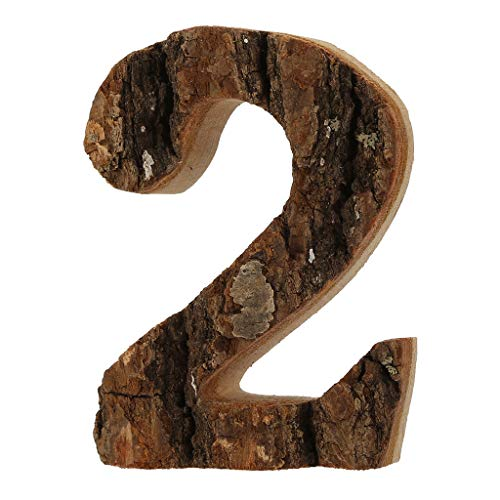 Ouniman Wooden Number Letters, Vintage Original Wood Bark Natural Digital DIY Shooting Props Decoration Classic Font Wood Letters and Numbers,Sign Party Wedding Decor Battery Operated Number