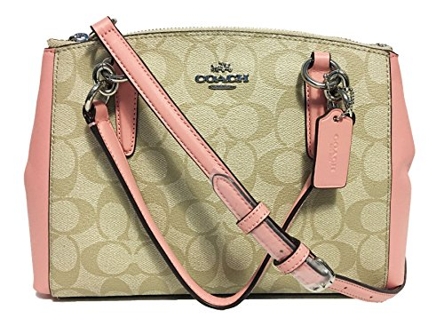 Khaki in pink Christie Leather Crossgrain Carryall Coach Sz18Og
