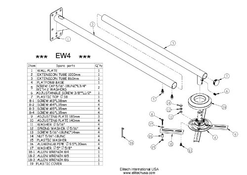 Short Throw Projector Universal Wall Mount up to 56'' Extension from Wall by Elitech (Image #2)