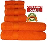 100 % Organic Turkish cotton, Antibacterial Premium Quality, Turkish Towels Super Soft, Plush Highly Absorbency,Everyday Use Quick dry.Long lasting Eco-Friendly (Towel Set- Set of 6, Tangerine Orange)
