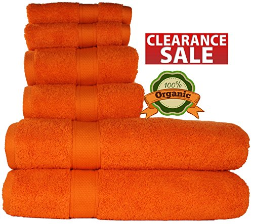 100 % Organic Turkish cotton, Antibacterial Premium Quality, Turkish Towels Super Soft, Plush Highly Absorbency,Everyday Use Quick dry.Long lasting Eco-Friendly (Towel Set- Set of 6, Tangerine (Orange Bath Set)